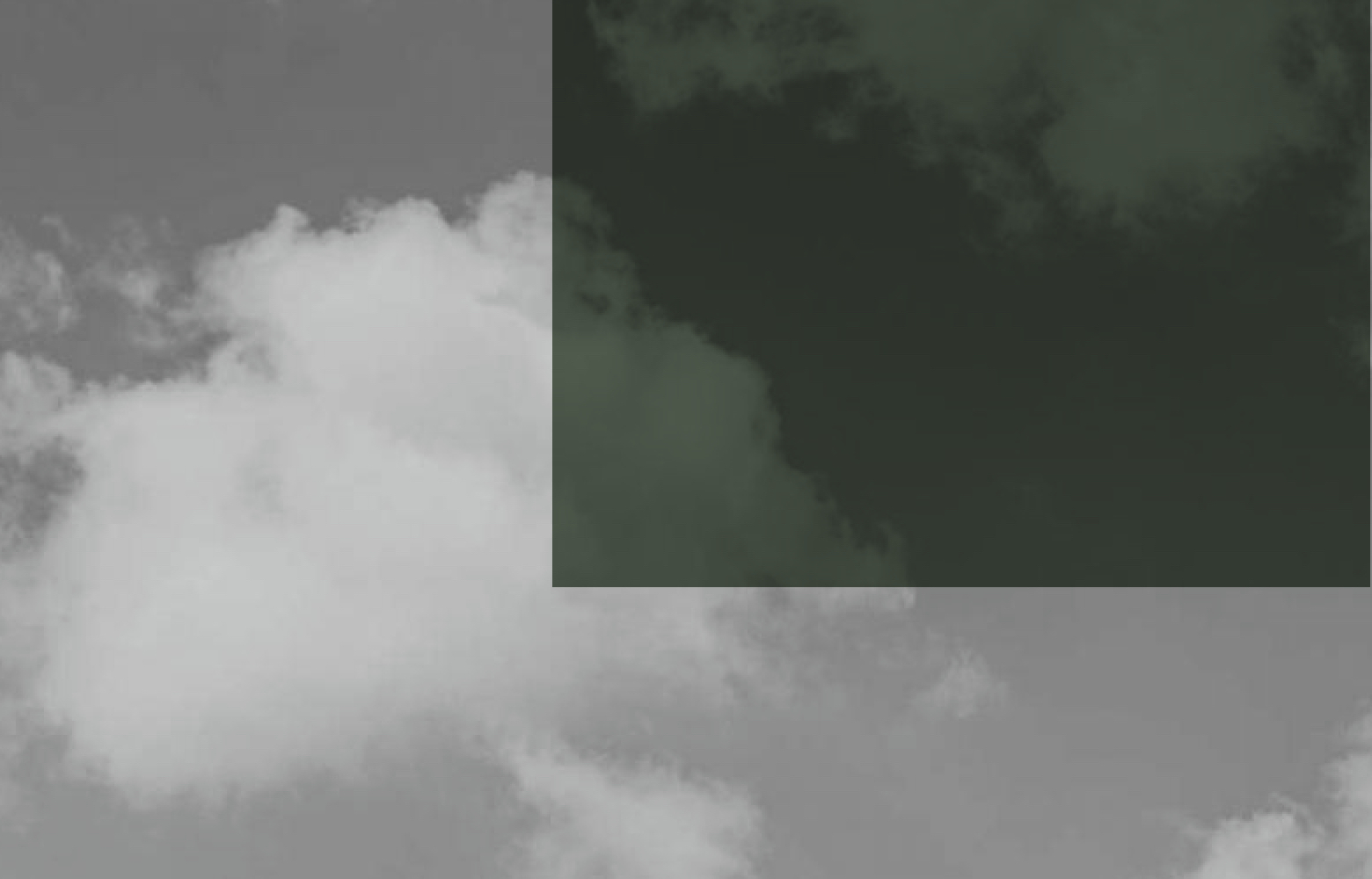 Abstract illustration, clouds on grey and green.
