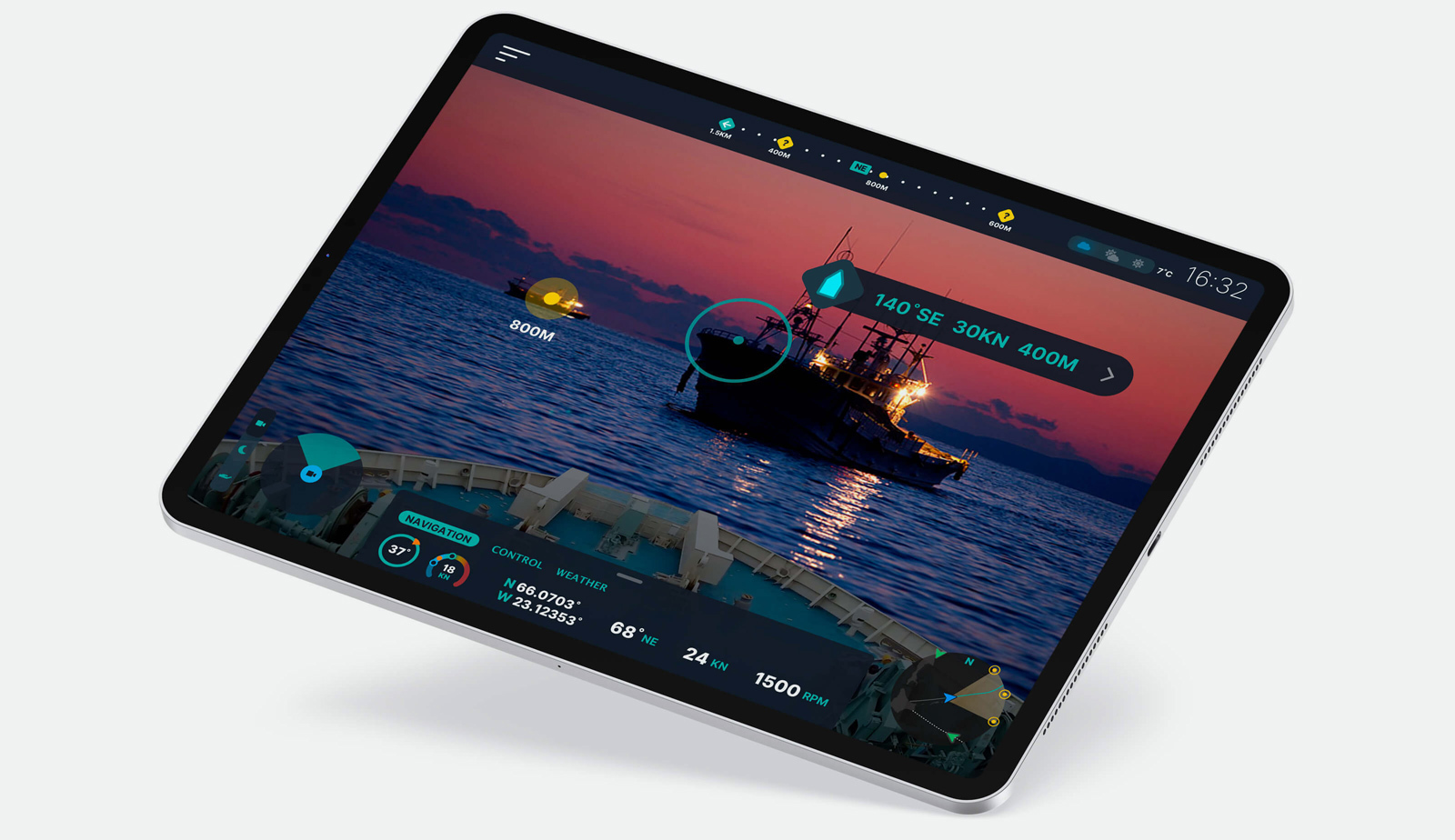 Table displaying navigation UI over view of tugboat in the water.