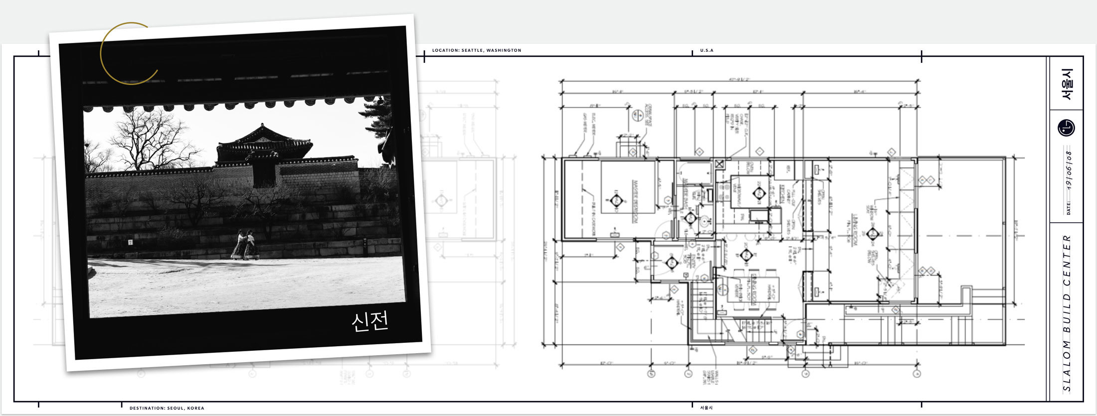 Graphic composition with photo of a pagoda and an office layout blueprint.