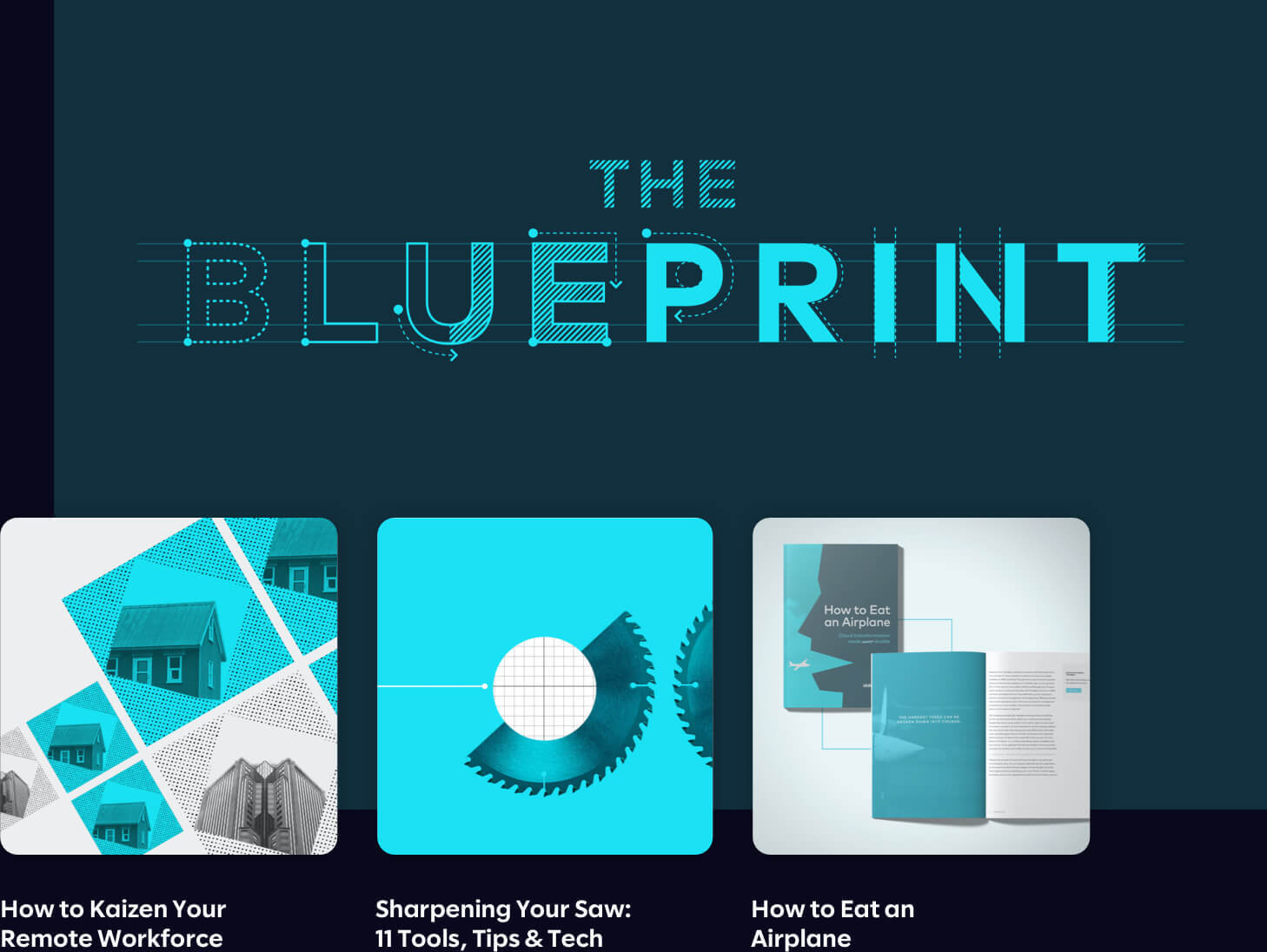 Graphic composition of three Blueprint article titles.
