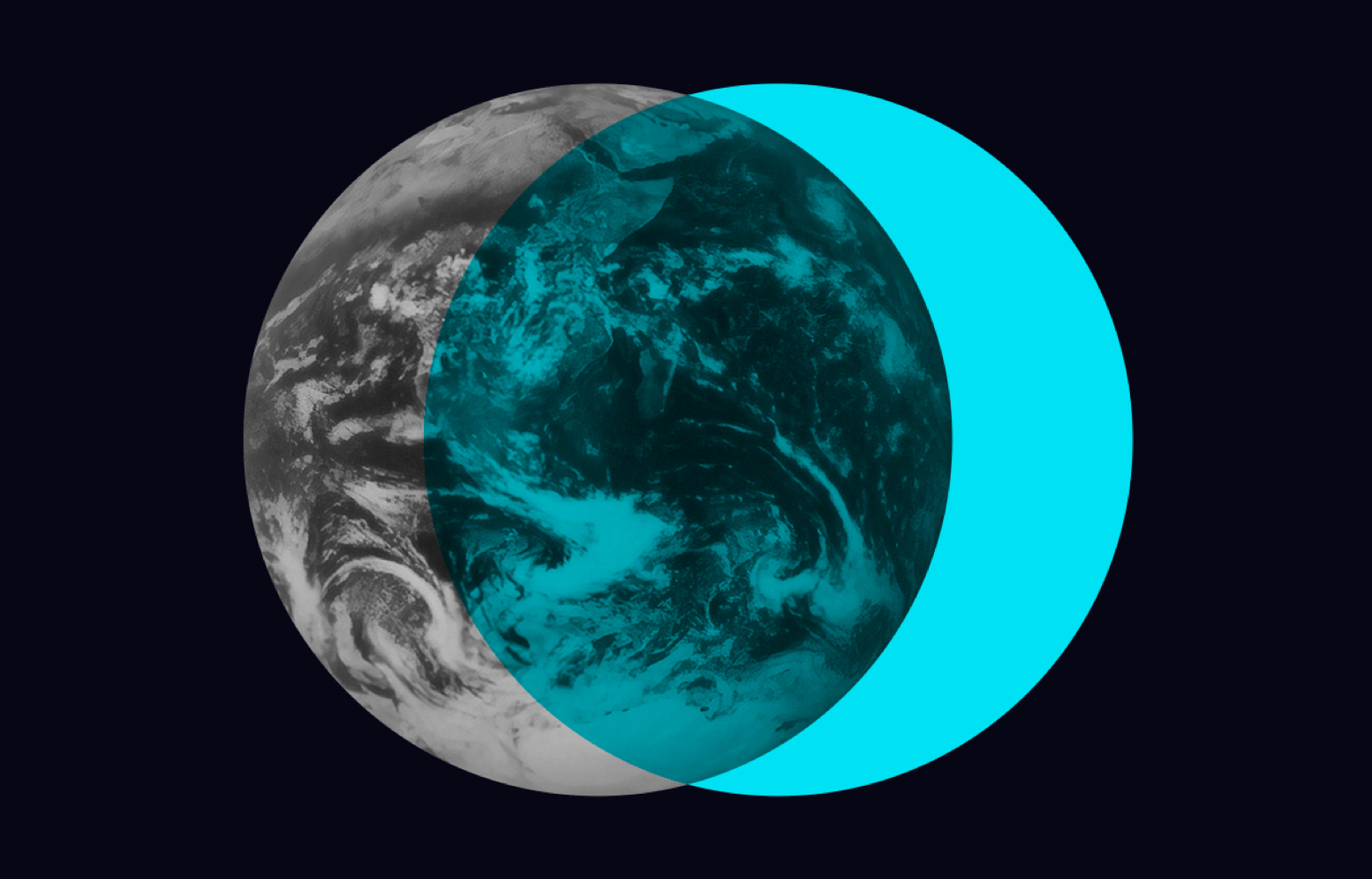 Black & white earth from space with cyan circle over.