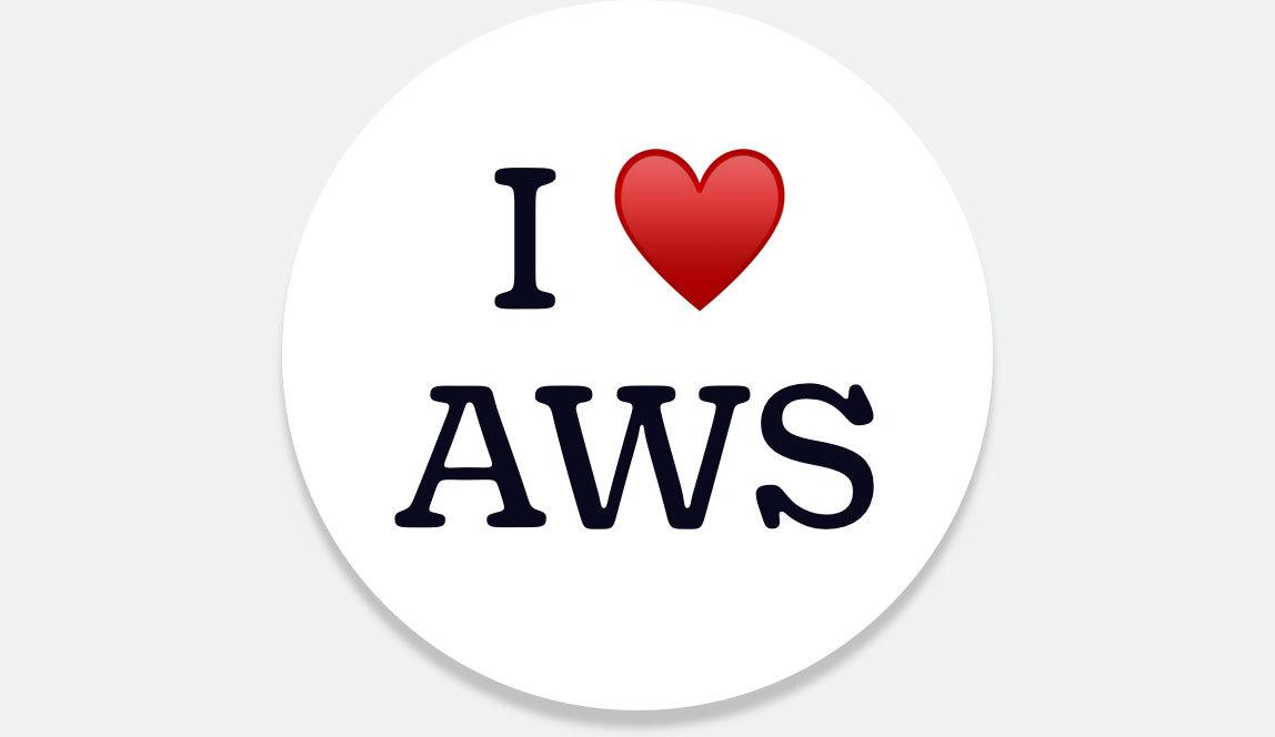 I heart AWS on a button.