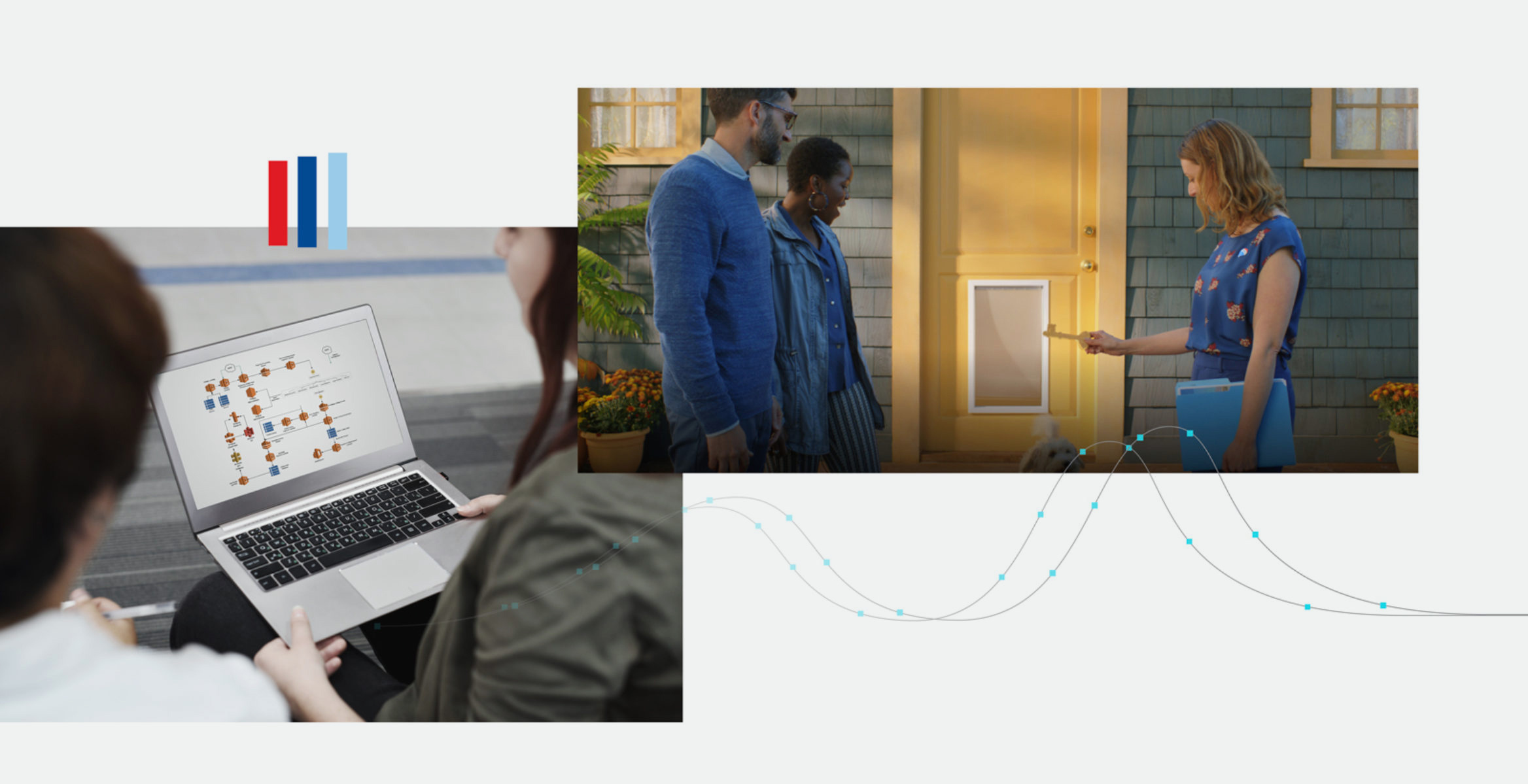 Photo collage featuring 2 people working at a laptop and a realtor showing 2 people a home.