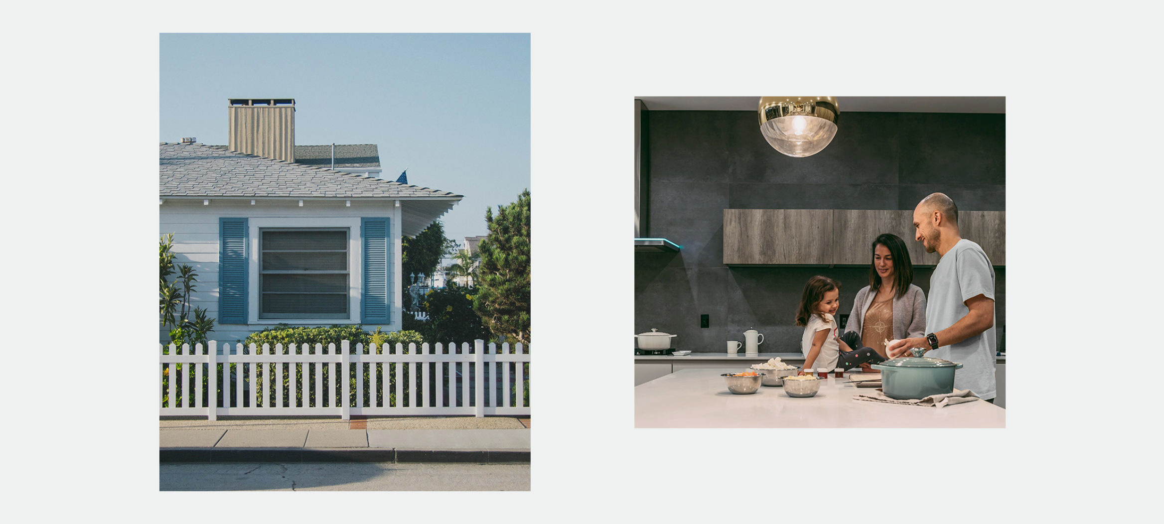 two photos: one showing a white picket fence the other showing a family cooking together.