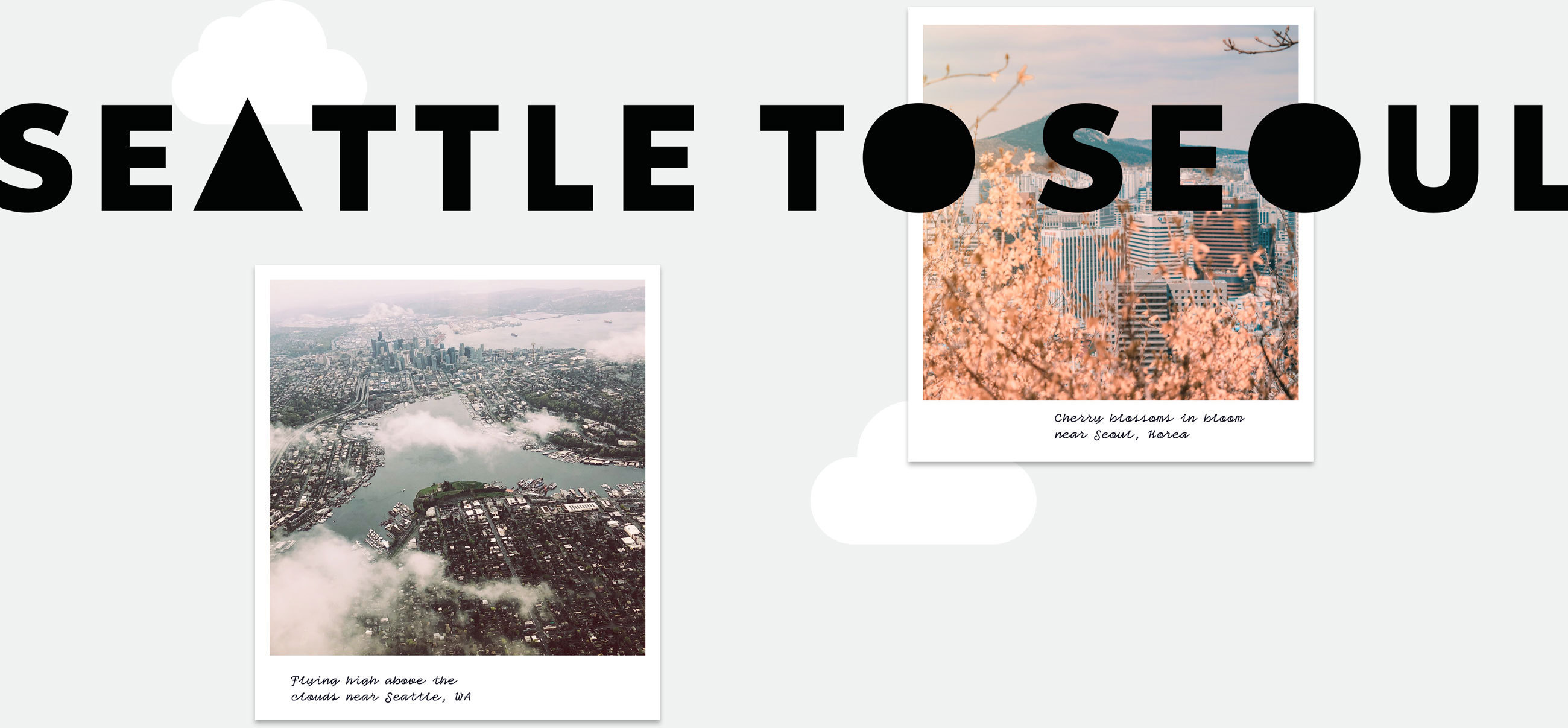 photo illustration with 2 polaroids of Seattle from the air and cherry blossoms in bloom.
