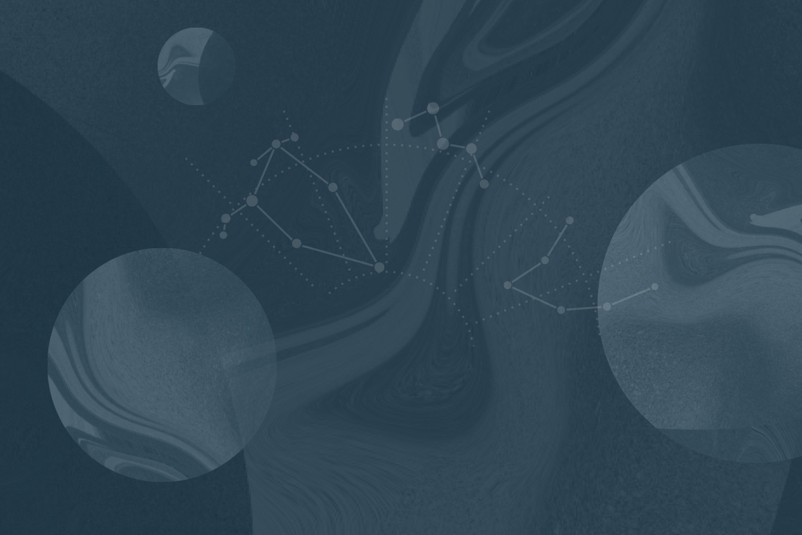 Abstract composition featuring swirls and constellations.