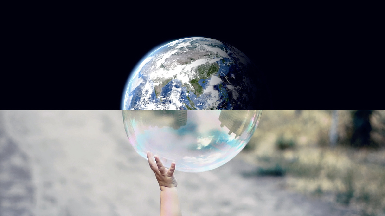 Photo composition: Earth from space on top, bubble with child's hand reaching on bottom.