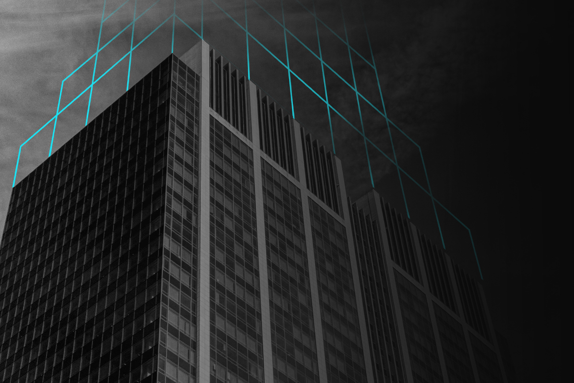 B&W pic of building, looking up, cyan lines continuing the building form upward.