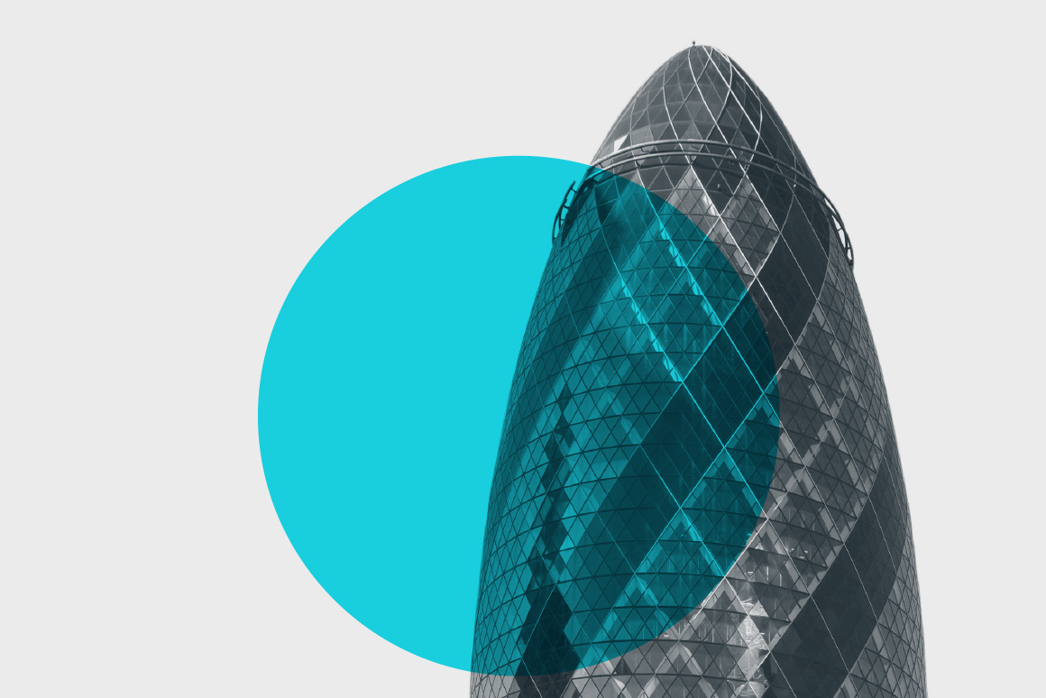 Graphic illustration featuring cyan circle over London Gherkin.