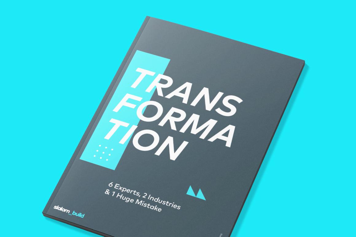 Transformation whitepaper book on cyan background.