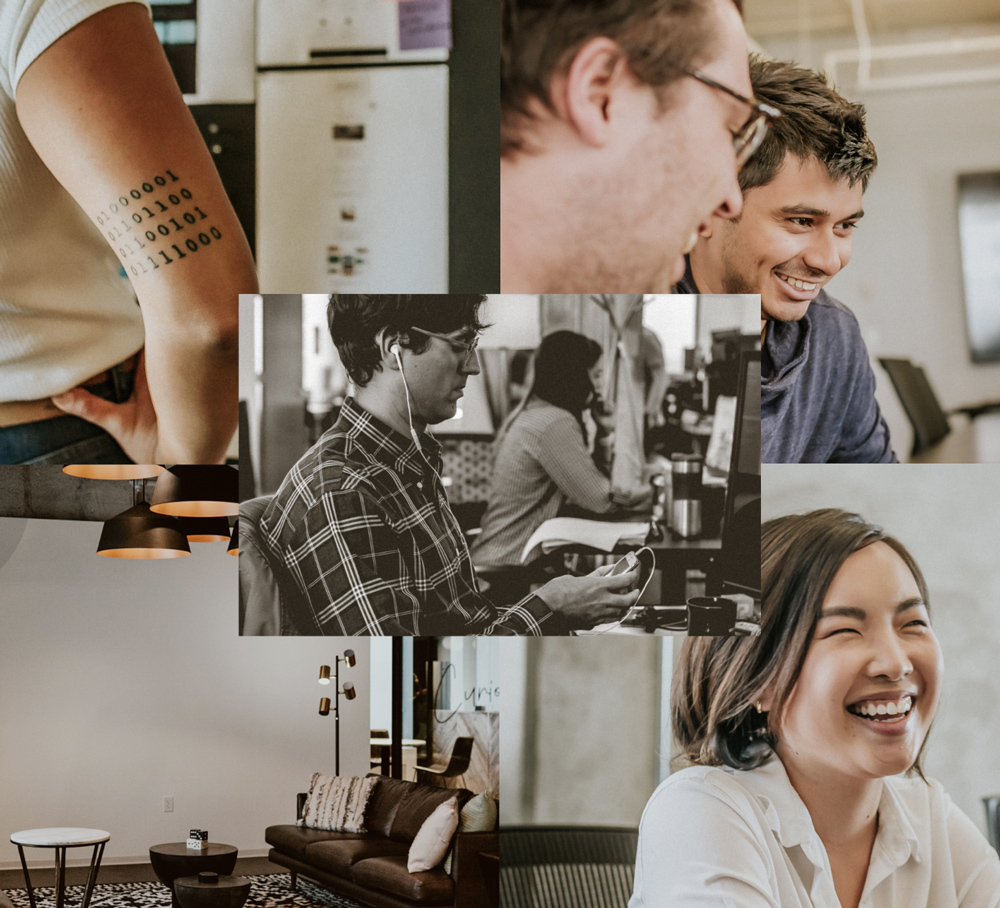 Photo collage of multiple people smiling and working in an office.