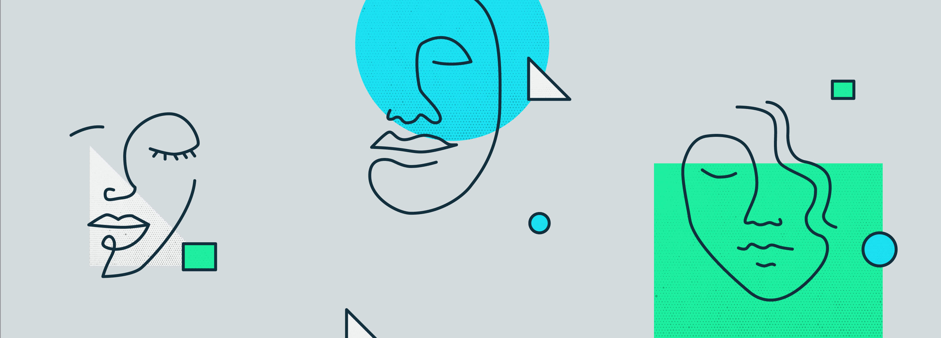 Contour line drawings of faces with green and cyan shapes for Age of Empathy article.