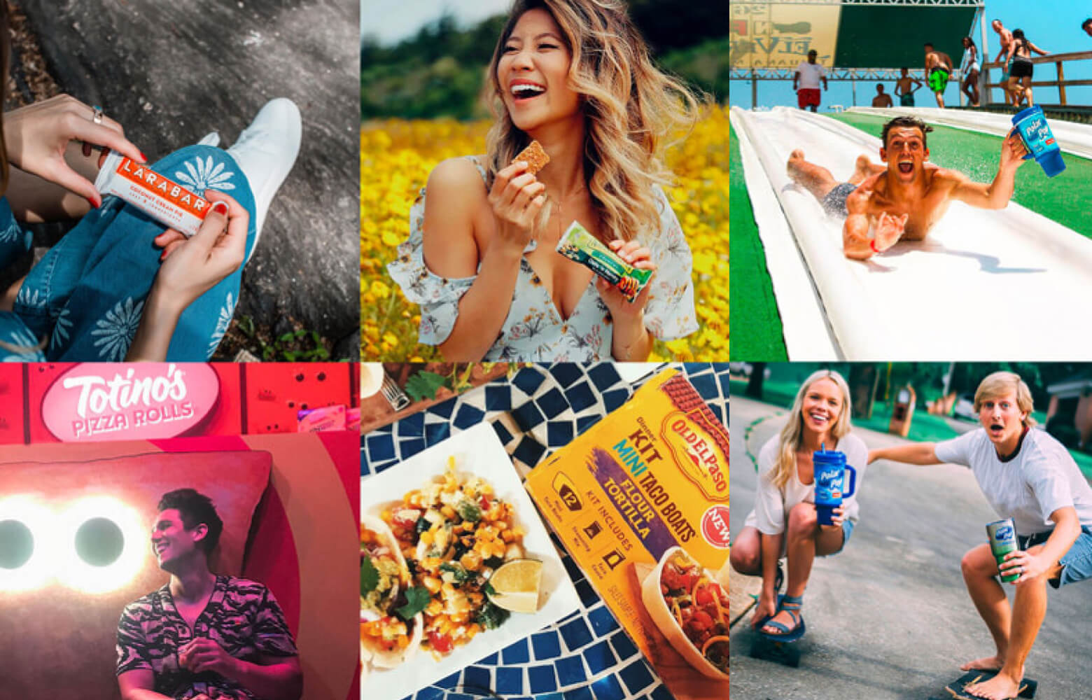 Six panel photo montage of typical social influencer content.