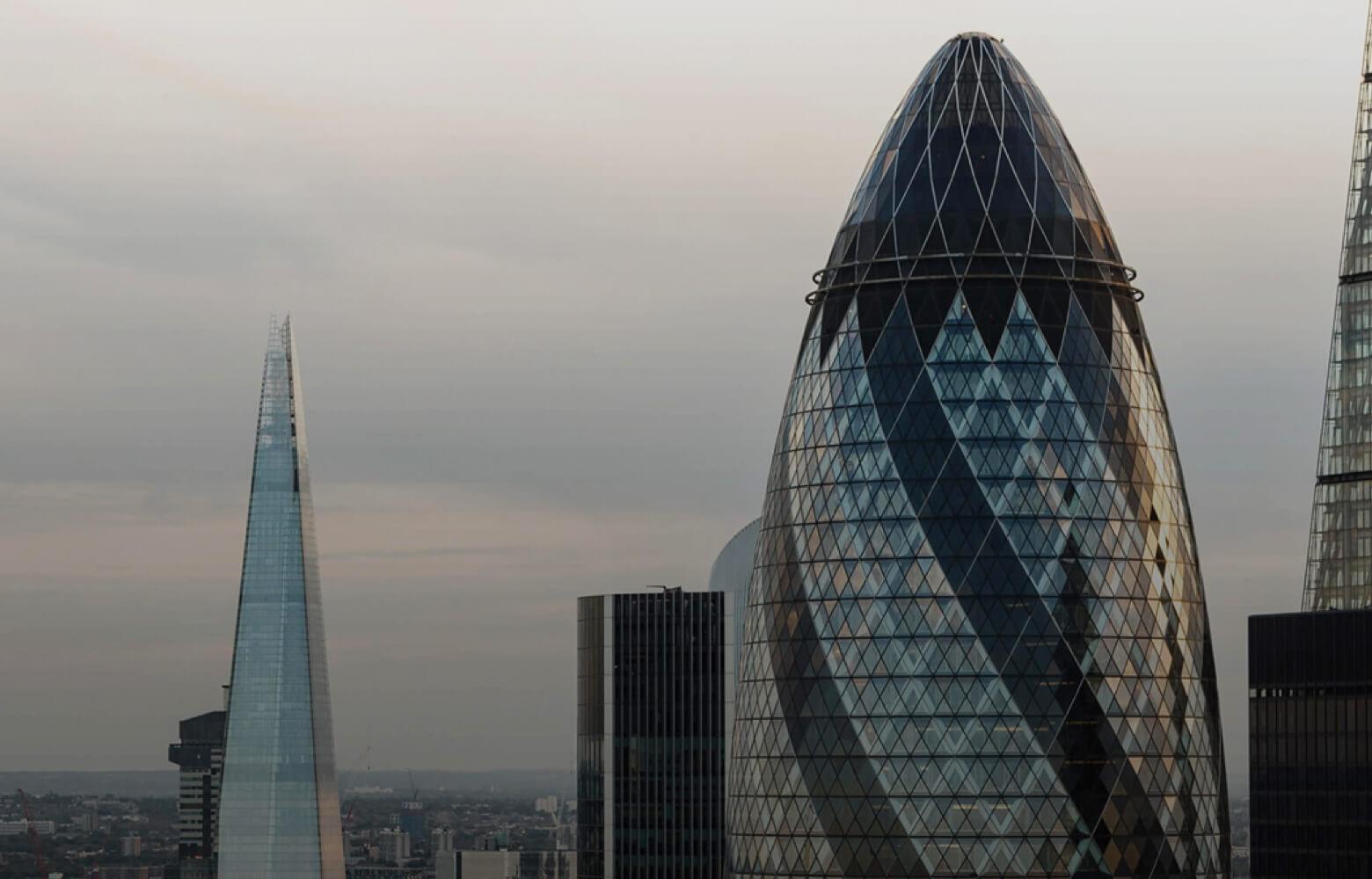 London skyline featuring top of gherkin.